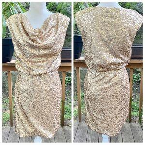 Eliza J Gold Sequin Cocktail Party Dress